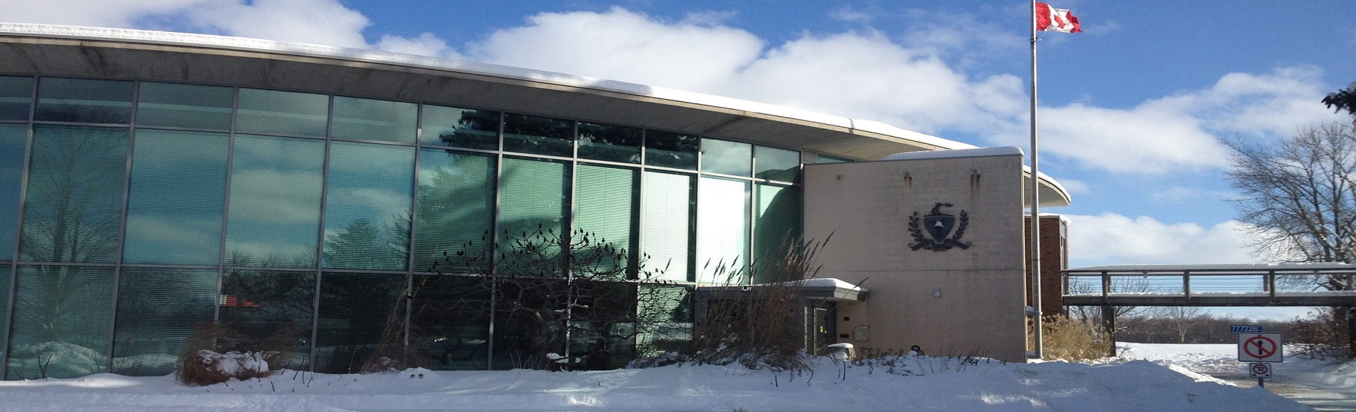 Huron County building in winter
