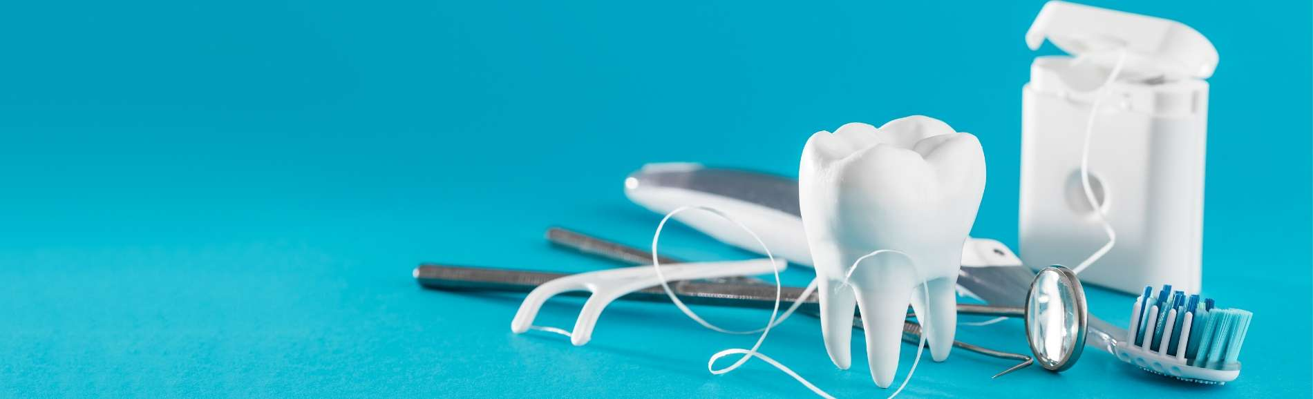 Dental instruments, tooth and tooth floss